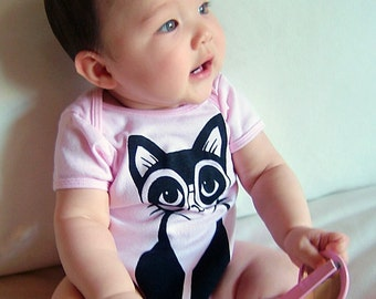 Light Pink Clever Pussycat Short Sleeve Onesie - Made to Order