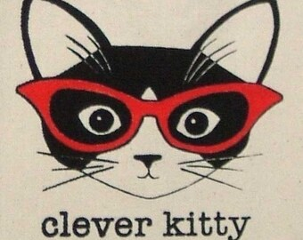 Clever KItty Tote Bag - Made to Order