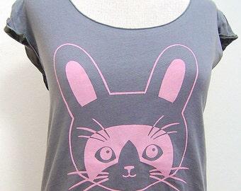 Slate Grey Bunny Rabbit Kitty Sheer Jersey Tee
