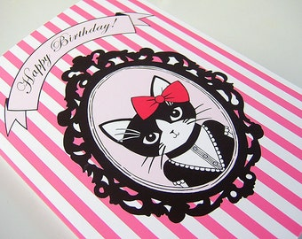 Fancy Kitty Birthday Greeting Card