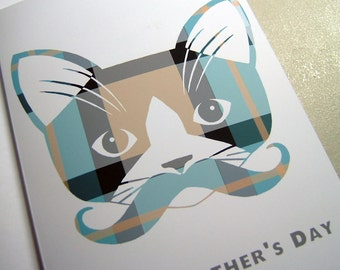 Father's Day Card. Mustache Kitty Cat. Plaid. Whiskers.
