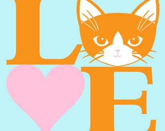 Love Cats in Orange and Pink 8 x 10 Art Print