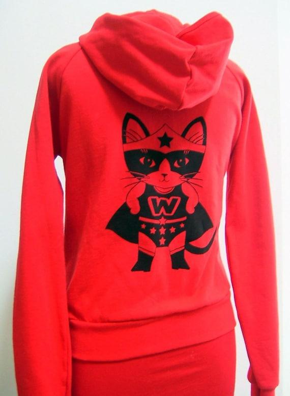 Red Wonder Kitty Zip Hoodie in Small