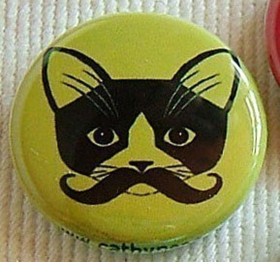 Mustache Kitty Button Set of  Four