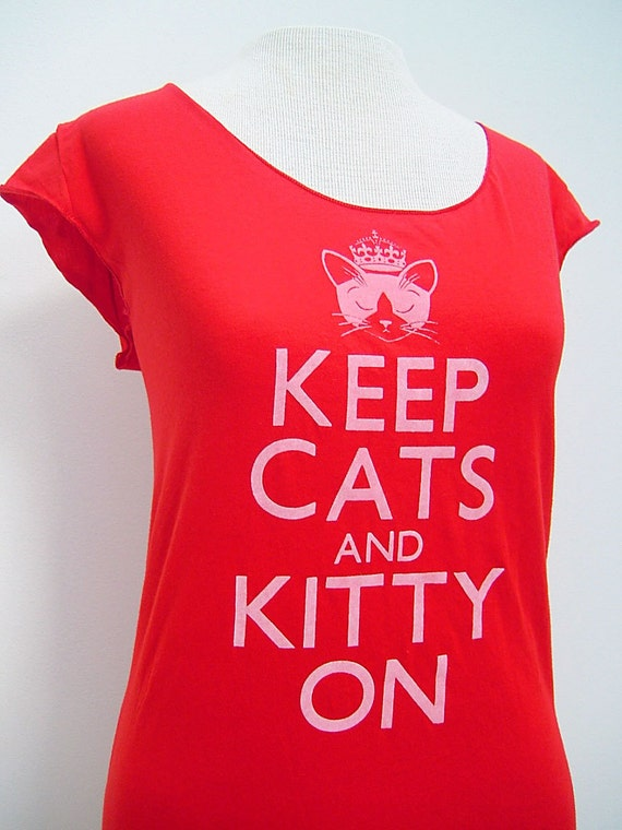 Red Keep Cats and Kitty On Sheer Jersey Tee