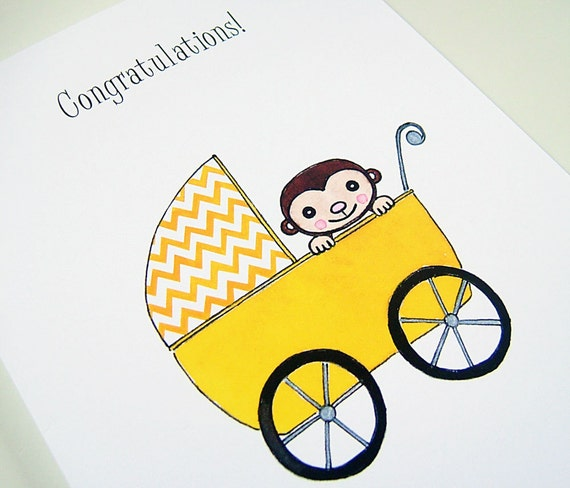 Stroller Monkey New Baby Congratulations Greeting Card