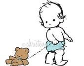 nursery art print . baby boy with teddy bear