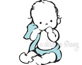 nursery art print . baby boy with blue diaper and blanket / blankie . 8x8