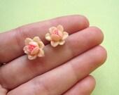peachy pink rose earring studs . vintage (LAST PAIR)