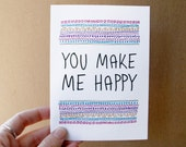romantic valentine card you make me happy quote card birthday card anniversary card funny valentine card geometric pattern i love you card