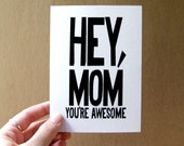 funny card for mom birthday card funny mothers day card hey mom you're awesome bold typography card for mum handmade greeting card mom gift
