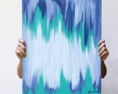 abstract art . 16x20 original canvas painting in teal, indigo, and white