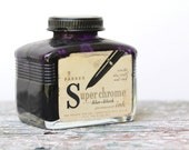 vintage ink bottle . back to school parker superchrome blue-black permanent ink