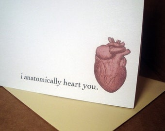 funny valentine card i anatomically heart you anniversary card romantic valentines day card vintage medical anatomical heart illustration