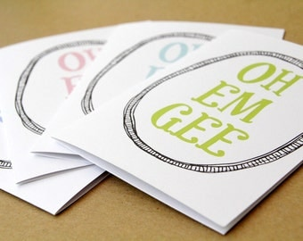 OOPS CLEARANCE SALE // set of 4 oh em gee cards