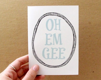 OOPS CLEARANCE SALE, funny oh em gee card, aqua, letterhappy