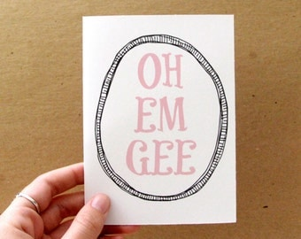 OOPS CLEARANCE SALE, funny oh em gee card, pink, letterhappy