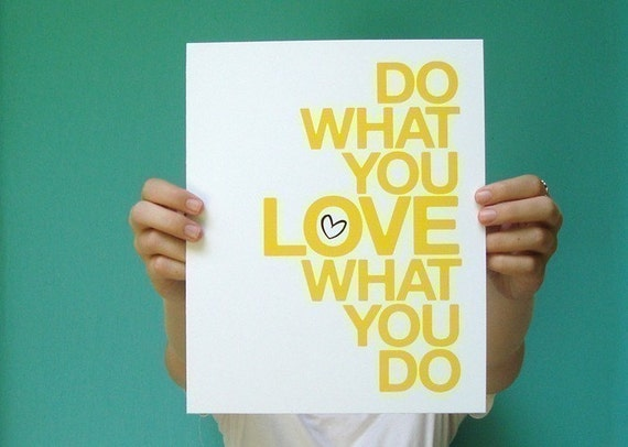 inspirational art print, do what you love, modern yellow typography quote, 8x10 studio office home decor, letterhappy