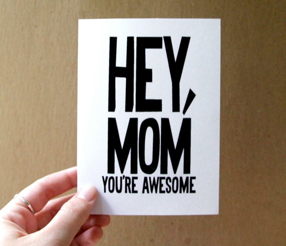 funny valentine card for mom birthday card funny mothers day card hey mom you're awesome bold typography card for mum handmade greeting card
