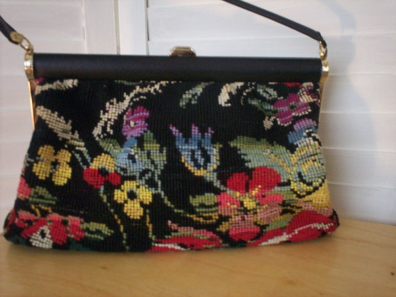 Black Needlepoint Purse with Flowers by JR USA with Coin Purse