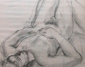Male Nude on Bed CHARCOAL drawing 24 x 18 ORIGINAL FIGURATIVE Nude