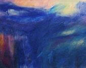 Moonrise GICLEE ART PRINT 11 x 17 abstract night sky dark blue purple pink white