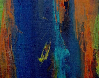 Mystic Deliria GLICEE ART PRINT 8x11 abstract deep blue orange