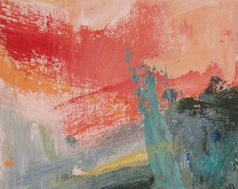 Intermezzo II GICLEE PRINT 8 x 11 pink aqua orange red home and garden
