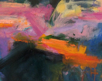 Bulldozer LARGE ABSTRACT ORIGINAL Painting 27 x 46 blue purple green orange pink