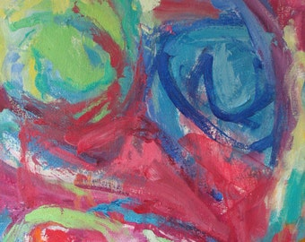 Large Original abstract Baby Blues painting 24 x 24, blue, red, soft green