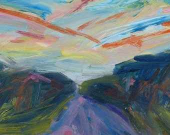 SALE! Sunset Route 202 ABSTRACT Painting 14 x 18 ORIGINAL oil landscape green lavender orange
