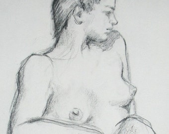 Sitting model GICLEE ART PRINT 11 x 17 female portrait figurative art