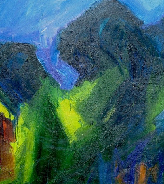 Summer Night LARGE Painting 30 x 38 abstract landscape evening light purple dark green cobalt