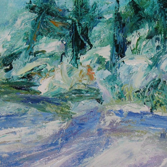 Shadows on snow ABSTRACT Painting 11 x 16 ORIGINAL white and blue winter landscape