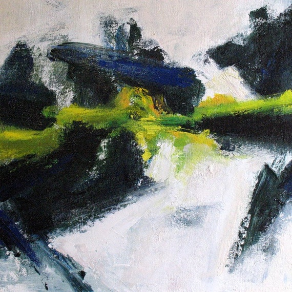 Moss ABSTRACT Painting 16 x 20 white winter dark blue acid green