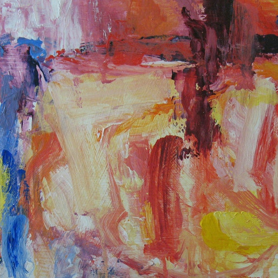 Breathe ABSTRACT Painting 9 x 12 ORIGINAL pale yellow, pale pink, cobalt blue, soft colors