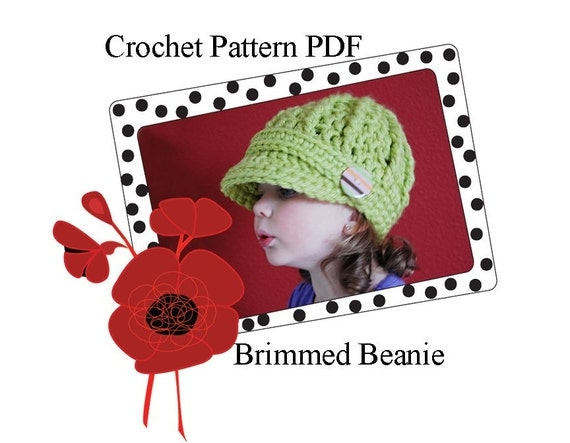 Crochet Pattern PDF Easy Brimmed Newsboy Beanie Hat in Two sizes, Adult and Child