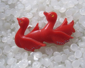 Vintage barrette, swans a swimming, red swan