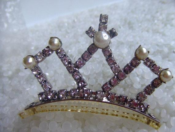 Vintage tiara, rhinestones, faux pearls, celluloid comb, Tiara