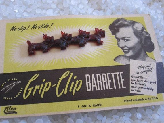 Rare vintage barrette row of Scottie dogs