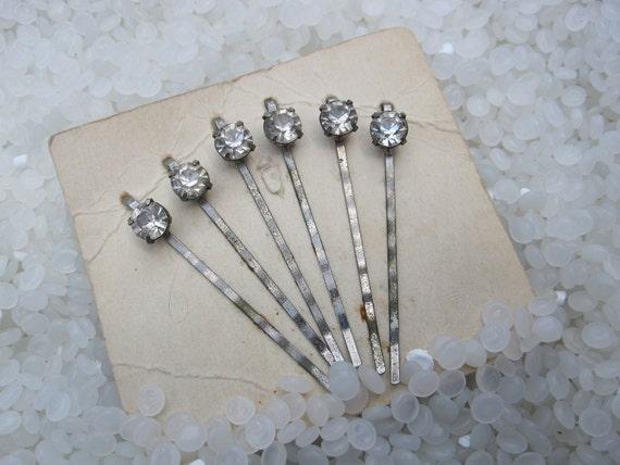 vintage hair pins RARE still on package pronged rhinestones