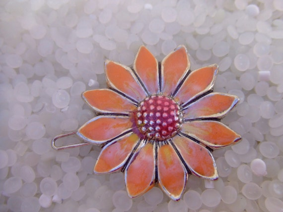 vintage barrette, peach daisy enamel SALE