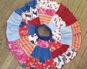 Upcycled Patchwork  T Shirt Circle Skirt for Girls