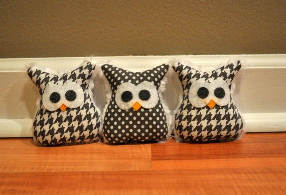 Set of 3 Owl  Ornaments