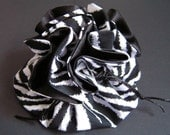 Zebra with Black Satin Jewelry Pouch - Bridesmaid Gift - Wedding Gift - Travel Pouch - Stocking Stuffer