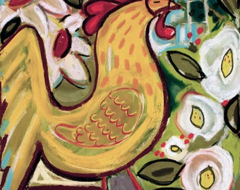 """Yellow Rooster 12""""x12"""" Giclee Reproduction"""