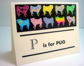 P is for Pug Note Card Set - New Pug Notecards