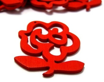 6pcs Red Flower Shape Wooden Pendants.  Contact us if you would like other quantities