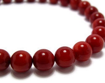 Red Coral Beads x 5pcs.  8mm in Diameter.  Contact us if you would like other quantities.