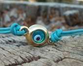 Turquoise  Leather  Charm Bracelet With Gold Evil Eye